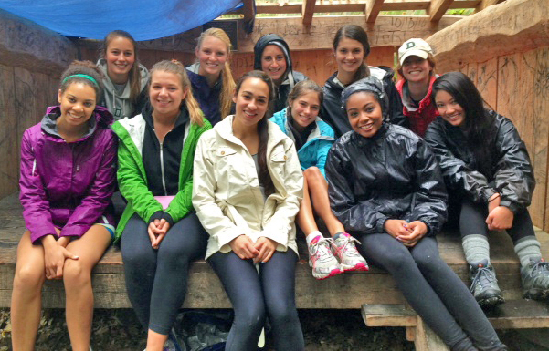Kappa Kappa Gamma hikers at Velvet Rocks shelter