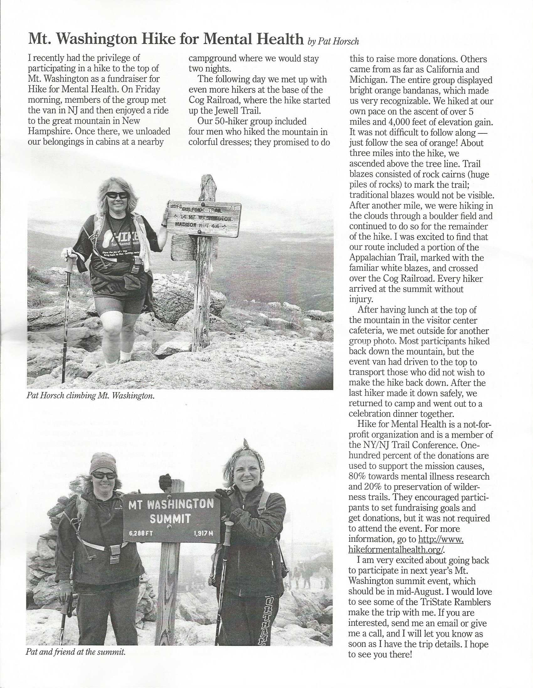 Pat Horsch joined our Third Annual Summit Mt. Washington hike in 2014. We hoping to see her and others from the Tri-State Ramblers back on the summit in 2015. Thanks, for the great write-up, Pat.
