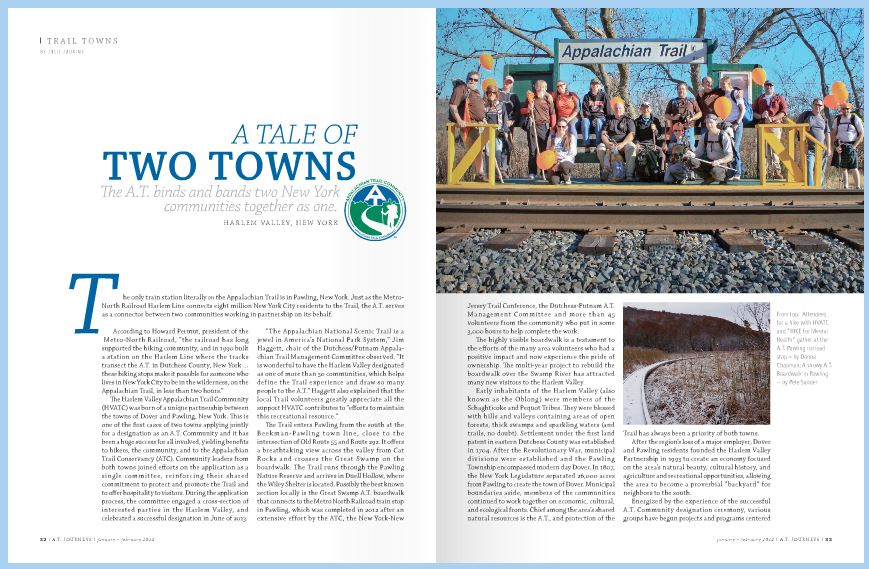 On page 33 of the Jan-Feb 2014 edition of AT Journeys is Donna's photograph of the hikers from our Cat Rocks and Great wamp hike, co-sponsored with the Harlem Valley Appalachian Trail Community.