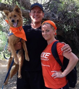 Two- and four-footed hikers wearing their orange on the hike