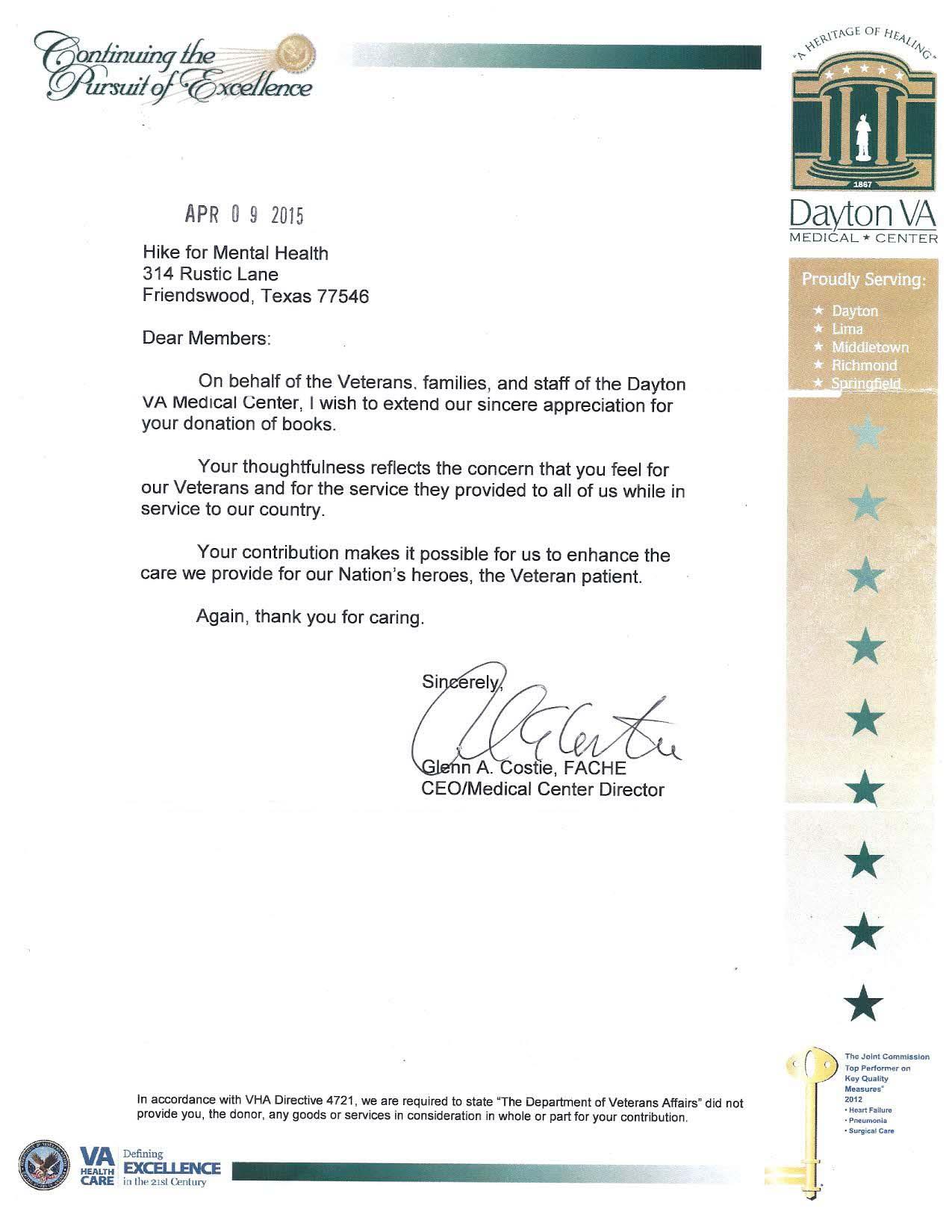 Dayton VA Medical Center Thank You Letter April 2015