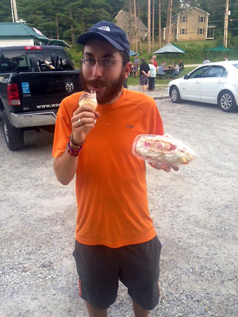 Enjoying an ice cream cone before moving on to a massive banana split in Danby, VT