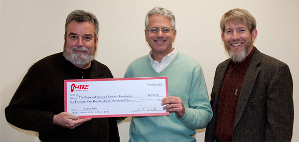 HIKE for Mental Health presents check to BBRF