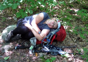 Neva resting at a break on the hike