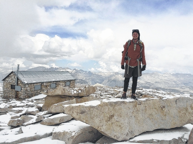 Jason Baab with snow in June near Mt. Whitney in the High Sierras of California. Baab has completed roughly 2,000 miles of his 2,650 mile trek along the Pacific Crest Trail to raise money and awareness for mental health.