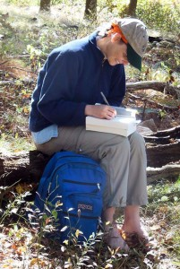Susan signing her books for one lucky hiker.