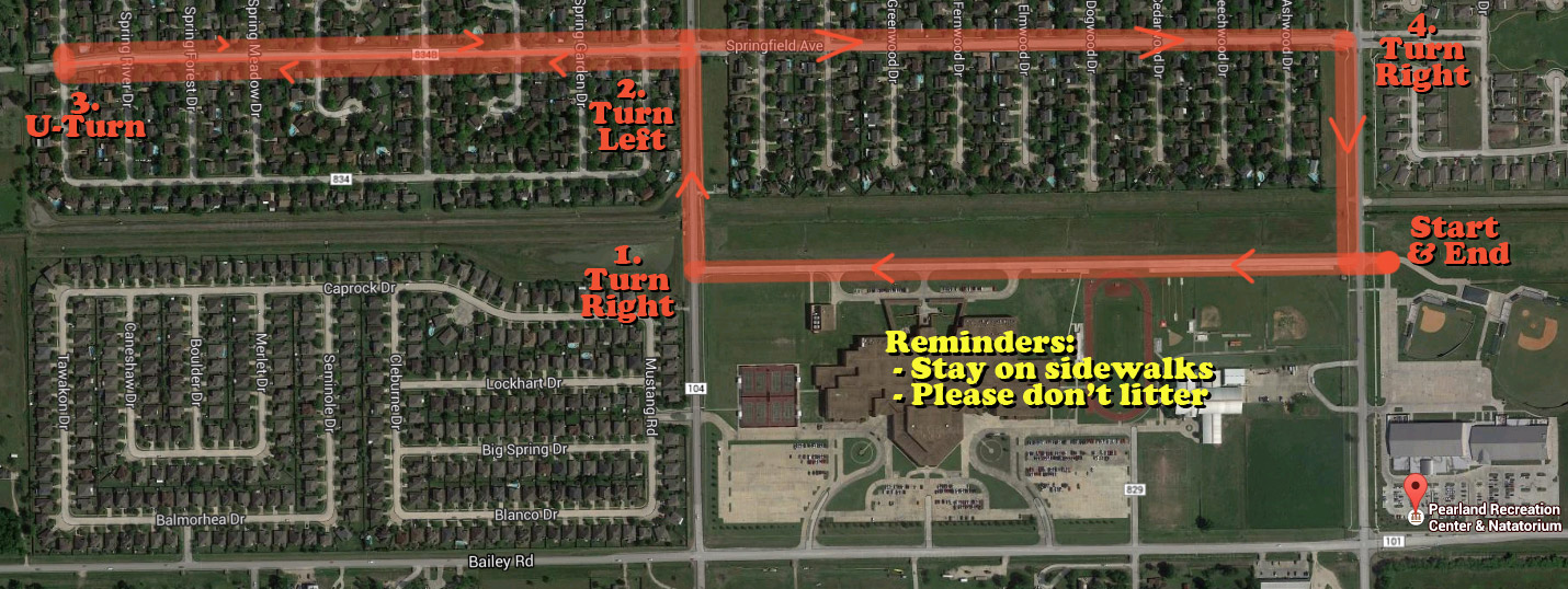 Pearland-walk-route-map