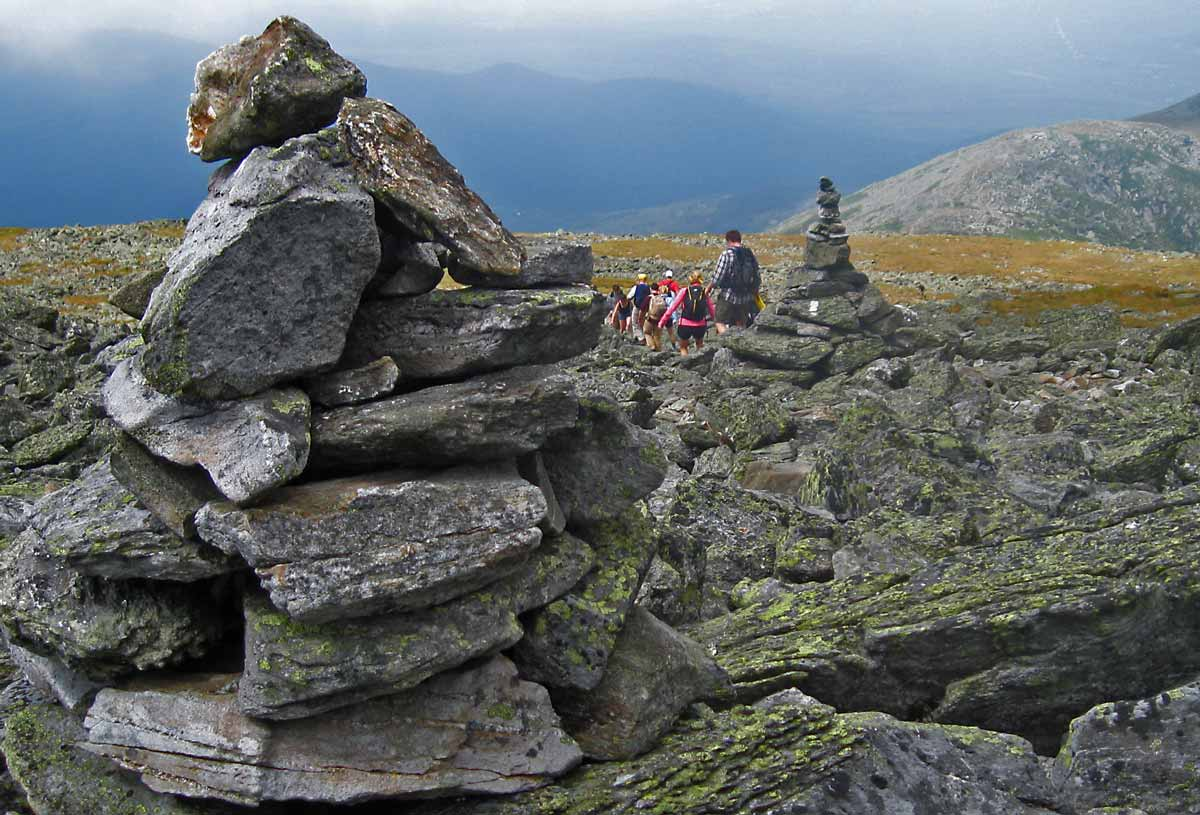 Following the cairns on the descent of Mt. Washington